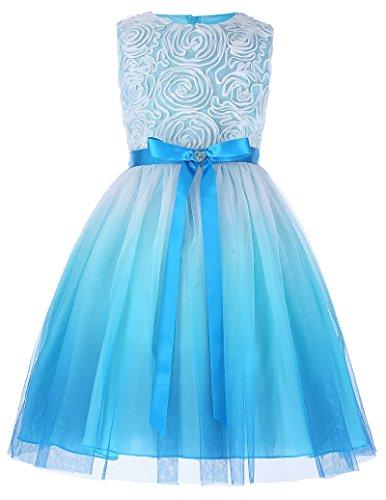 Aermellos A-Linie Brautjungfer Kleid Maedchen Kleid 9-10 Jahre CL10438-2 (Kleider Mädchen 10)