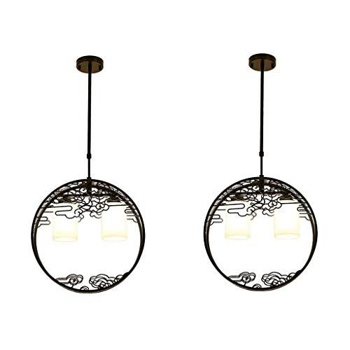 Deckenleuchte/Kronleuchter-Neuer chinesischer Stil Wolke Kronleuchter Korridor Lampe Hotel Restaurant Restaurant Technik Lampe JINRONG (Farbe : Black*2) (Restaurant-stil-barhocker)