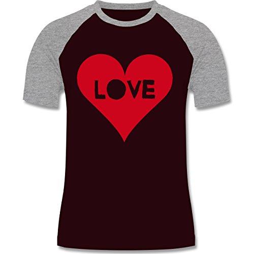 I love - Herz - Love - zweifarbiges Baseballshirt für Männer Burgundrot/Grau meliert