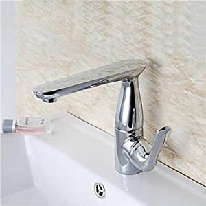 360° HJZ Rotatable chrom, versilbert, Brass Bathroom Sink Faucet-Silver