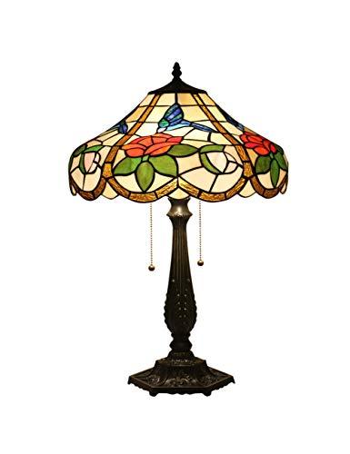 Floral Vintage Stehlampe (KCoob Schreibtischlampe große europäische Rosen und Hummingbird Muster Stehlampe Vintage für Wohnzimmer)