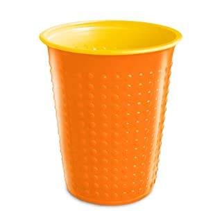 40 Pieces Drinking Cup Plastic cups 200 ml various cup two-colour Bicolor various colours W5 - orange-yellow, 200 ml