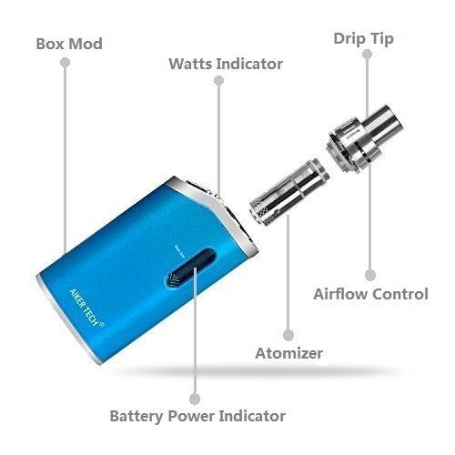 Electronic Cigarette Starter Kit | Vape Kit Vaporiser With Top Refill Tank | 1300mAh 0.3 Ohms 20W / 30W / 40W Mod Box | No E liquid No Nicotine (blue)