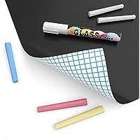 Pegatina de pizarra autoadhesiva de papel de contacto para pizarra negra para el hogar, oficina, escuela, borrado en seco, pegatina de pizarra adhesiva, 1 juego (pegatinas de pizarra + 5 tizas)