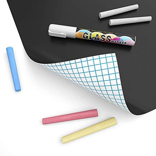 Tafelfolie Schwarz,Selbstklebende Tafel-Aufkleber - Blackboard Folie - Leicht anbringbare 1 Set (Tafel Aufkleber + 5 Stück Kreide),45 * 100CM Schwarz