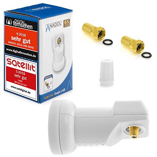 Anadol Gold Line Single LNB [ Test SEHR GUT ] 0.1dB Digital für 1 Teilnehmer Direkt Anschluss 1fach Full HD TV 3D 4K + Kontakte vergoldet + Wetterschutz im Set mit 2 F-Stecker vergoldet GRATIS