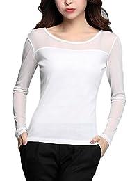 Guiran Damen Langarm Shirt Rundhalsausschnitt Transparent Tüll Mesh Bluse T-Shirt  Tops Oberteile d38d6e6aa8