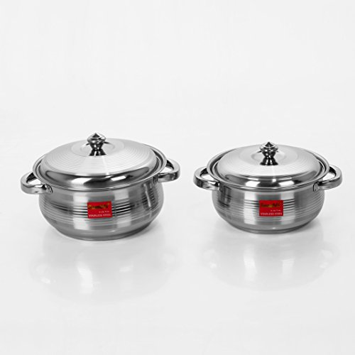 Sumeet 2 Pcs Stainless Steel Induction & Gas Stove Friendly Belly Shape Container Set / Handi Set / Cookware Set With Lids Size No.10 & No.11  available at amazon for Rs.499