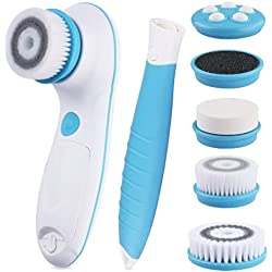 DBPOWER 6 in 1 Waterproof Electric Facial & Body Cleansing Brush (Blue)