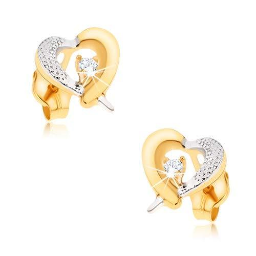 OrdoŠ diamonds® orecchini d'oro 375, orecchini bicolore in oro 9k, orecchini a cuore, da bimbi orecchini, contorno giallo-bianco di un cuore, incisione, zircone, chiusura a farfallina, 0.6g