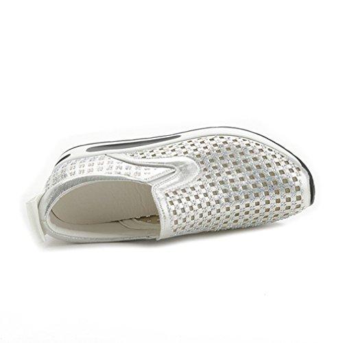 Damen Slipper Aushöhlen Mesh Glitzer Unsichtbar Erhöhung Lässig Slip on Freizeit Bequem Modisch Strapazierfähig Loafer Silber