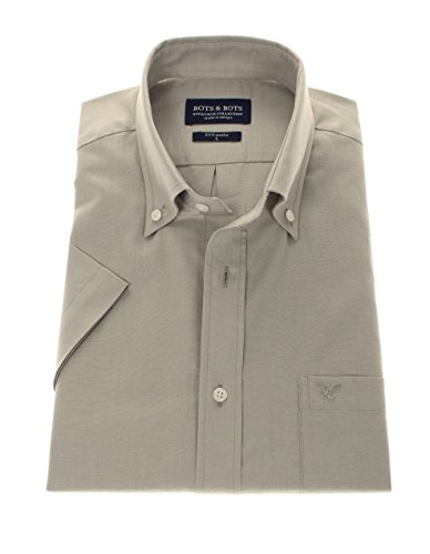 167030 - Bots & Bots Exclusive Collection - Manches Courtes 80% Coton / 20% Lin - Button Down - Normal Fit Taupe