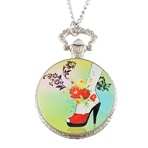 ShopyStore Style2 Funique Silver Plated Fashion Enamel Quartz Pocket Watch For Women Pocket Amp; F