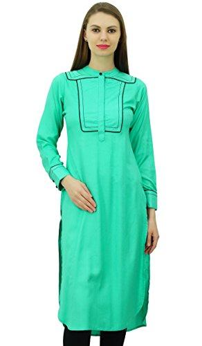 Phagun Designer Indian Rayon Punjabi Kurta für Damen Ethnische gerade  beiläufige Tunika Kurti Teal Grün