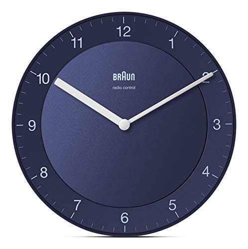 Braun Classic Radio Controlled Wall Clock for Central European Time Zone (DCF/GMT+1) with Quiet Movement, Easy to Read, 20cm Diameter in Blue, Model BC06BL-DCF.