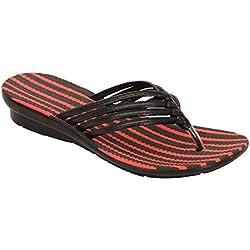 Damen Sandalen Damen Hineinschlüpfen Zehensteg Pantoffeln Strand Modische Schuhe Sommer Neu - schwarz - shvj342z, 8 UK