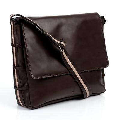 """BACCINI sac de messenger ROBERTO - grand - sac à bandoulière approprié pour 14"""" PC-portable, iPad - besace en cuir véritable (37 x 30 x 9 cm)"""