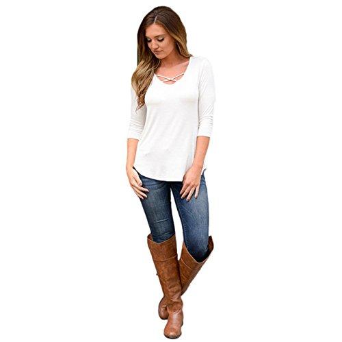 LHWY Donne Camicia Manica Lunga Camicia Camicetta Casual Cotone Sciolto Top T (XL, Bianco)
