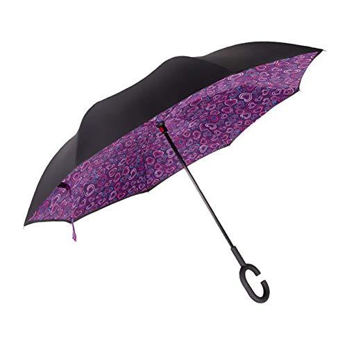 Tür Öffnen Rod (Ecoticfate Cane Umbrella Double-Layer Reverse Umbrella Straight Rod für Frauen mit UV-Schutz auf den Kopf mit C-förmigen Griff)