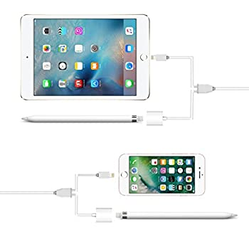Apple Ipad Pro Bleistift Ladekabel [2 In 1 Funktion] Plus Usb Daten-ladekabel Für Iphone & Ipad 150 Cm Weiß 2