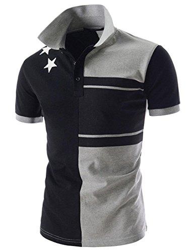 jeansian Herren Summer Casual Stars Short Sleeve Polo Men T-Shirt Slim Fit Collar Tee Top D608 Navy&Gray