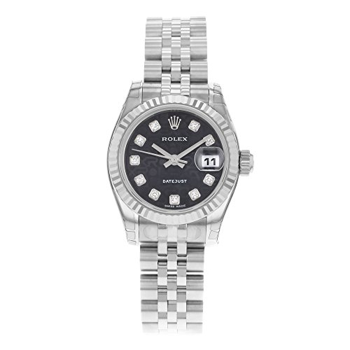 Rolex Ladys New Style Heavy Band Stainless Steel Datejust Model 179174 Jubilee Band 18K White Gold Fluted Bezel Black Anniversary Diamond Dial
