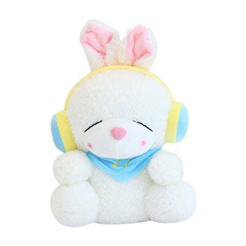 3D Ins Cute Cuddly Headphones Rabbit Plush Pet Doll Animal Soft Stuffed Play Hugging Baby Teaching Toy Girl Sleeping Bolster Throw Pillow Bed Sofa Cushion Nursery Home Decor Gift Kids Girlfriend White
