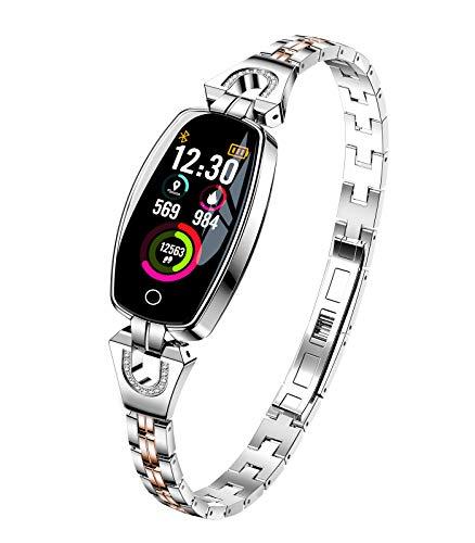 Himeher Luxus H8 Damen Smartwatch Fitnessarmband Wasserdichter Fitness Tracker Intelligentes Armband Pulsmesser Blutdrucküberwachung Kalorienzähler Sport Schrittzähler für Android IOS Google (Silber)