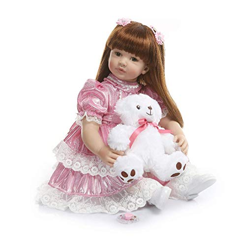 eal Life Langes Haar Big Size Neugeborene Kleinkind Puppe in Silikon Vinyl 60cm Kind Weihnachten Geburtstagsgeschenk Rosa Princess Dress Wiedergeboren Puppen, die echt Aussehen ()