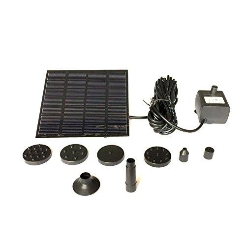 Funcionalidad:Voltaje de la bomba: 7VPotencia de bomba: 1.2WCaudal máximo: 200L/HEl ascensor más alto: 120cmAltura máxima de pulverización de agua: 70cmTensión del panel solar: 7VPotencia del panel solar: 1.5WTamaño del panel solar: 110× 110m...