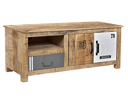 Woodkings® TV-Bank Pune Holz Natur braun Mango Metall Mix TV-Unterschrank Design TV-Möbel Schublade Holzmöbel