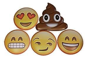 Masques d'Emoji émoticônes, ensembles de 5 pièces y compris des visages merde, sourire, sournois, Coeur-yeux et sourire- parfait pour les « selfies », les soirées à thème, les carnavals et pour l'amusement.