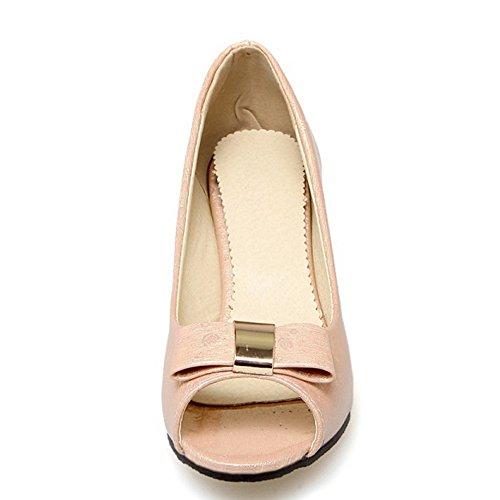 TAOFFEN Damen Mode Peep-toe Blockabsatz Sandalen mit Bogen Pink