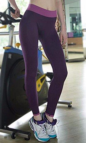 QIYUN.Z Femmes Leggings Taille Haute Yoga Sportif Gymnase Pantalons De Course De Remise En Forme Leggings Elastiques Violet