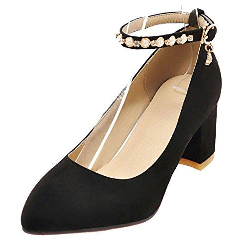 AIYOUMEI Damen Wildleder Knöchelriemchen Chunky Heel Pumps mit 6cm und Strass Absatz Abend Bequem Schuhe