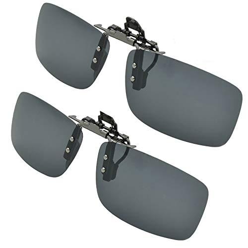 Splaks Sonnenbrille Aufsatz, 2-Stück Clip on Polarisiert Clip polarisierte Sonnenbrille Flip up Sonnenbrille Clip Gegen Licht für Frauen und Männer(Schwarz+Schwarz)
