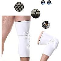 Denshine Baloncesto protector de la pierna manga protección pierna rodilleras para baloncesto, voleibol, fútbol, tenis, bádminton, viajando en bicicleta, correr y hacer ejercicio, etc (Blanco, XL)