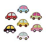 Thinkin 25X20Mm 50 Pz/Lotto Colorato in Legno da Cucire Decorazione Pittura Bottoni Modello di Auto Scrapbooking Misto A Caso 2 Fori per I Bambini