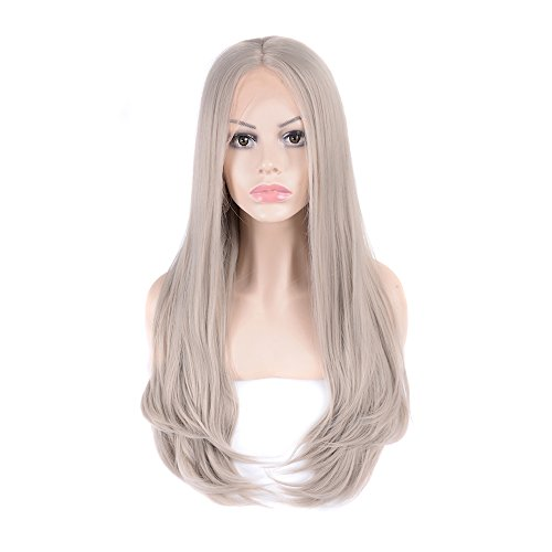 Mufly Lange Synthetische Gewellt Perücke Kunsthaar Weiche volle Perücken Lace Front Wig Cosplay Partei Party Kostüm Perücken Wie (Glatze Kind Kostüm)