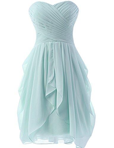 HUINI Hochzeitskleider Damen Chiffon Brautjungfernkleider Kurz Abendkleider Ballkleider Partykleider Abschlussball Kleider Ice Blue 46