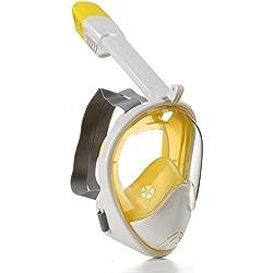WITREE-Z Masque de Plongée - Masque de Plongée Masque de Plongée Enfants Plongée Masque Tuba + Jaune,Blanc,L