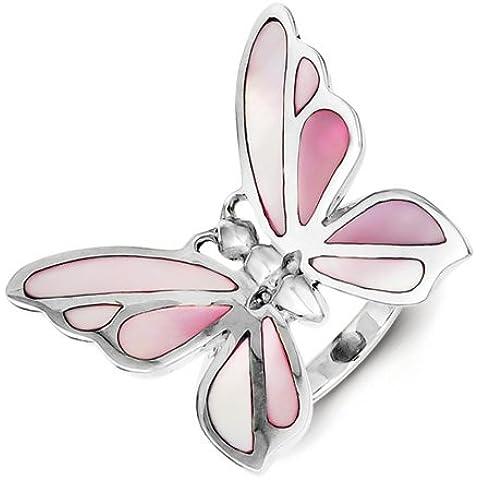 Icecarats Diseñador Tamaño Joyas 7 Esterlina Pink Plata Madre De Anillo De Mariposa De La Perla