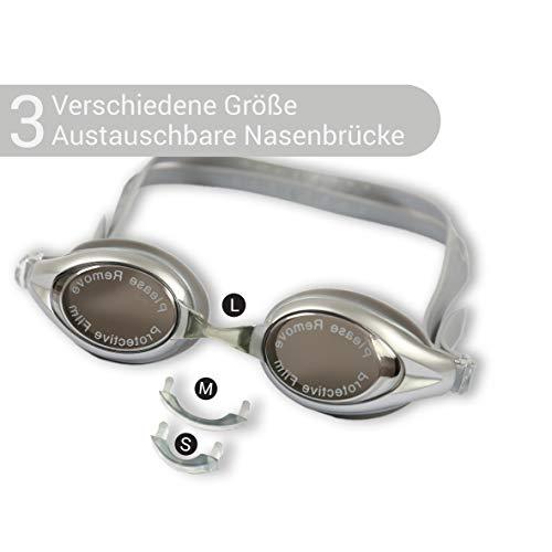 Diapolo Nox Schwimmbrillen mit verspiegelte Linsen für Damen und Herren (Grau)