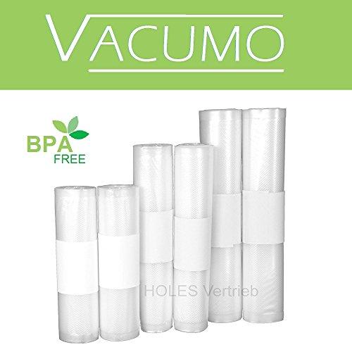 6 x VACUMO Vakuumrolle Vakuumfolie Vakuumbeutel SPARPACK in 3 Größen 20 cm 25 cm 30 cm x 600 cm goffriert / mit STRUKTUR für alle Vakuumierer LAVA SOLIS GASTROBACK CASO ALLPAX und andere. CODE : 6R