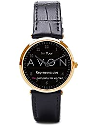 hiyane reloj con piel banda Avon cosméticos para hombre relojes