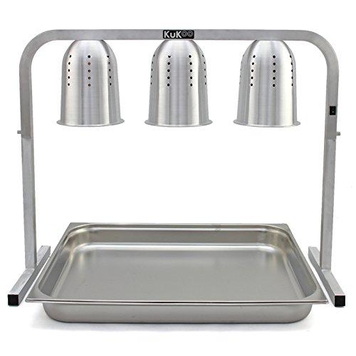 Kukoo - Scaldavivande con 3 Lampade a Infrarossi per Cucine Commerciali 78cm...