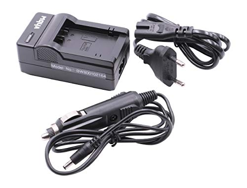 vhbw Ladegerät mit Kfz-Lader für Panasonic Lumix DMC-FZ40, DMC-FZ45, DMC-FZ47, DMC-FZ48, DMC-FZ100, DMC-FZ150, DMC-FZ72 wie DMC-BMB9, DMW-BMB9E.