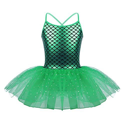 YAFEIYA Mädchen Glitter Kostüm Lyrische Ballerina für Kinder Teen Skalen Gedruckt Ballett Tanz Gymnastik Trikot Tutu Kleid,Green,8 (Kinder Glitter-ballerinas)