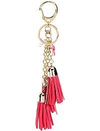 Lux accesorios negro PU cuero borla larga doble bolsa encanto llavero , big red