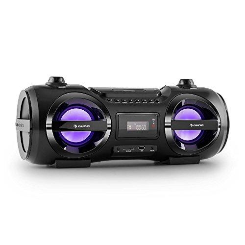 auna Soundblaster M tragbarer Lautsprecher Boombox Ghettoblaster (Bluetooth, Reichweite bis 10 m, USB- / SD-Port, AUX, LED, 2 x Stereo-Lautsprecher, Akku, Fernbedienung) schwarz